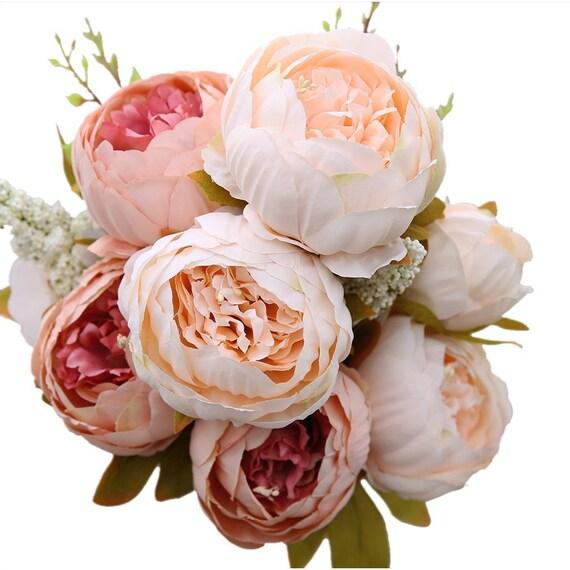 Decorative artificial flower blush silk peony flowers bouquet mightylinksfo
