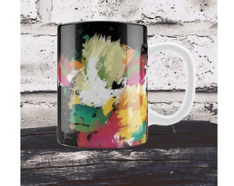 Cow Mug and Coaster. Gift Set. Colorful highland cow cup, Farm animal mug
