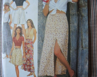 vintage 1990s Style sewing pattern 2640 misses set of skirts size 8-18
