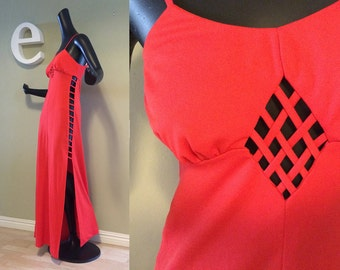 Vintage 70s Frederick's of Hollywood Maxi DISCO DRESS Red Keyhole Sexy Ladder Lattice Open Cage Side 1970s Party Clubbing Club size Small