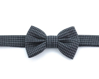 Baby Bow Tie, Infant Bow Tie, Boy's Bow Tie, Black and Gray Houndstooth Bow Tie, Formalwear, AnnabelsAccessories, Baby Accessories, Baby Bow