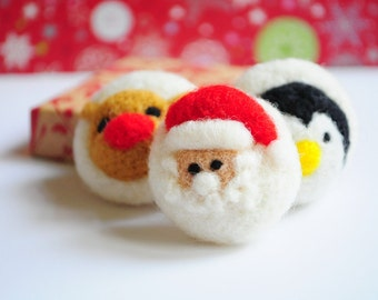 Set of 3 Christmas brooches - Santa Claus Love Head Scarf Winter is coming A Christmas wish Christmas 2017 Clothing Birthday Pin Jewelry