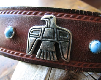 Leather barrette   silver hair   faux turquoise   bird hair clip   tribal animals
