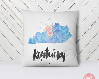 US State Kentucky Map Outline Floral Design - Throw Pillow Case, Pillow Cover, Home Decor - TPC1204