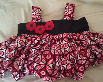 Black and Red Pleated Purse