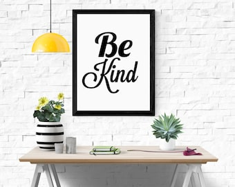 quote print, 'be kind' print, instant download