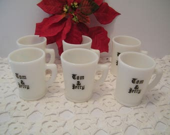 6 McKee Tom and Jerry Milk Glass Mugs, Vintage set of punch or egg nog cups with black lettering, 1930s collectibles, replacement