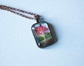 Copper Mini Rectangular Pendant 24 mm x 34 mm - Red Tree