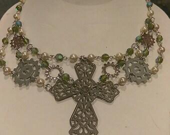 Steampunk green necklace