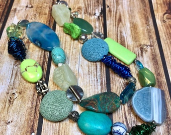 contemporary semi-precious gemstone jewelry - fun and funky statement necklace - NATALIE necklace - great gift idea - all occasion wear