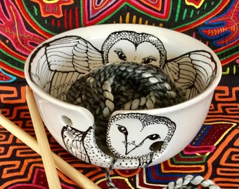 In Stock Barn Owl Yarn Bowl Large Hand Painted Ceramic with Four Yarn Channels
