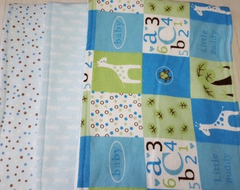 Burp Cloth Giraffe ABCs 123s Baby Dots Flannel Terry Cloth Set of 3 XL