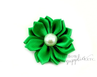 Green Dainty Star Flowers with Pearl 1-1/2 inch - Green Fabric Flowers, Green Silk Flowers, Green Hair Flowers, Green Flowers for Hair