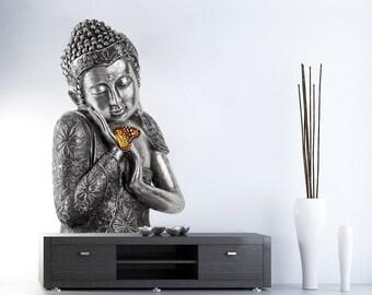 Buddha Wall Sticker - Buda Wall Decal - Wall Decals - Wall Stickers - Realistic Decals - Ethnic Stickers - Zen Decor - SKU:BUDYOG