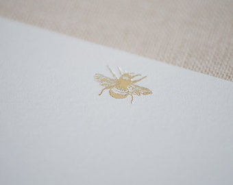 Gold Foil Bee Letterpress Note Cards /  Blank Envelopes / Unique Note Card Set / Great Gift Idea Under 20