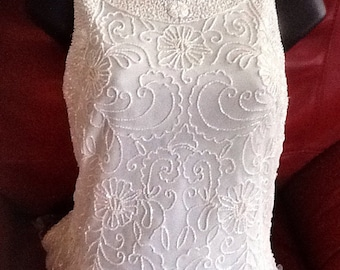 Dressy white beaded blouse small never worn