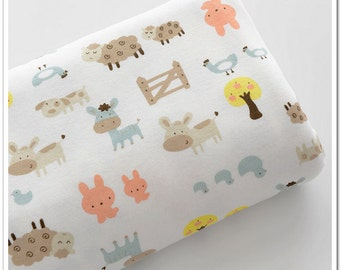Wide Cotton Knit Fabric, Baby Fabric, Baby Cotton, Stretch Fabric, Farm animals- 1/2 yard