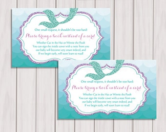 Mermaid Book Request, Little mermaid Book Instead of Card, Book in Lieu of Card, Under the sea Baby Shower Printable