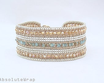 Blue gold yellow crystal wrap bracelet with silver plated chain trimming on soft polyester cord, single wrap bracelet