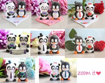 Panda and Penguin unique wedding cake toppers - cute bride and groom figurines wedding gift personalized elegant black white purple pink