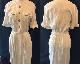 35% off Sale Vintage Workday retro creme pencil skirt dress 1970 small medium
