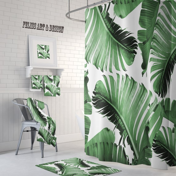 Tropical Decor Shower Curtain Towels