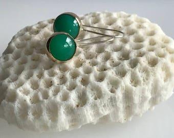 Handmade green chrysoprase earrings, Gold and chrysoprase earrings, Green drop earrings