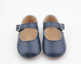 Children's Mary-Jane shoes, navy leather.
