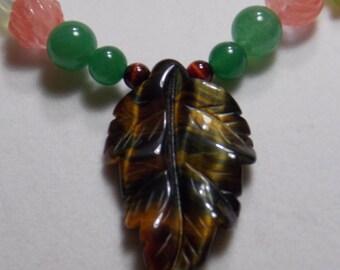 Tiger Eye Leaf Pendant Necklace