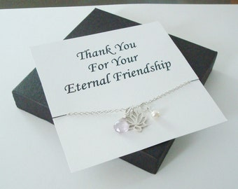 Lotus Charm with White Pearl and Pink Amethyst Silver Necklace ~Personalized Jewelry Card for Friend, Sister, Bridal Party, Family, Weddings