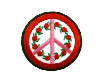 Peace Sign Iron On Patch Rose Embroidered Applique Patches For Jackets