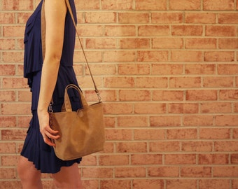 Waxed Canvas Small Tote Messenger- Vegan Cross Body Day Bag (Made to Order)