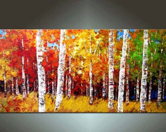 Landscape painting, HUGE Original DEEP Artist Canvas Textured Palette Knife Painting, Ready to Hang