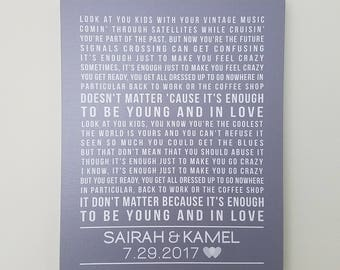 First Anniversary Gift for Husband or Wife, 1st Anniversary Gift, One Year Anniversary, Song Lyrics Canvas First Dance Lyrics