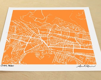 Cusco Map, Hand-Drawn City Print of Cusco, Peru