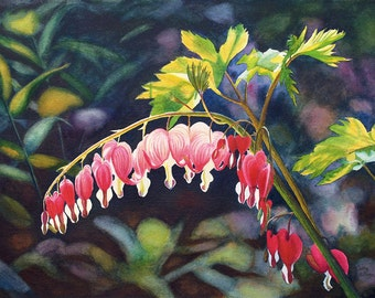 Bleeding Heart Canvas Art Watercolor Painting Print by Cathy HIllegas, 18x24 canvas print, red floral watercolor print, mothers day gift