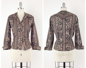 50s Brown, Black & Gold Hawaiian Blouse / 1950s Vintage Button Up Women's Top / Large / Size 10