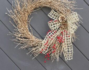 Gold Twig Wreath, Christmas Wreath, Valentines Wreath, Holiday Wreath, Twigwreaths, Winter Door Wreaths, Primitive Wreath, Farmhouse Decor