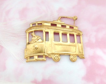 RAW BRASS Trolley California Street Car San Francisco Stamping ~ Jewelry Ornament Finding ~ Brass Stamping (D 440) CV