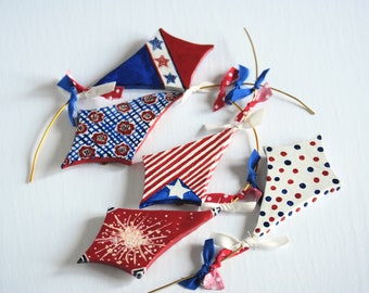 Ready to Ship Forth of July Kite Ornaments or wall Art-Customize set of 6