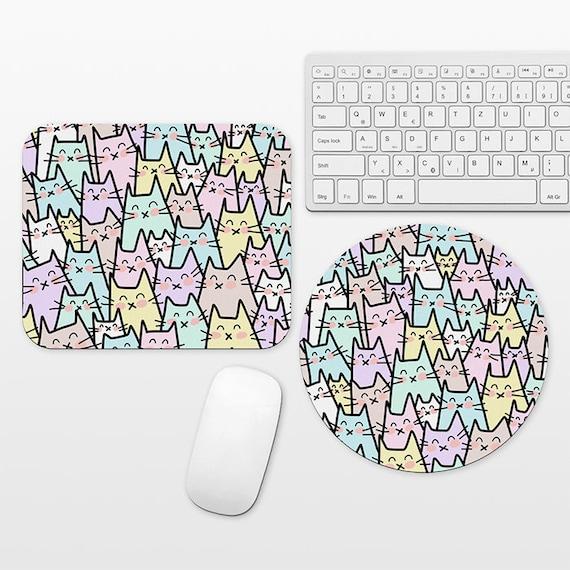 Cat Mouse Pad, Cat Mousepad, Pastel Mouse Pad, Cute Mouse Mat, Circle Round Rectangular, Cubicle Decor Desk Office Decor for Women