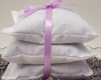 Lavender Dryer Sachets - Eco Friendly Laundry and Cleaning - Reusable Lavendar Sachet Bags - Set of 3
