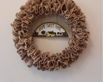 Ruffled burlap wreath with wood sign