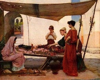 "John William Waterhouse 1880 Oil Painting ""Grecian Flower Market"" Vintage Classic Artwork 1930 Portraits Book Print"