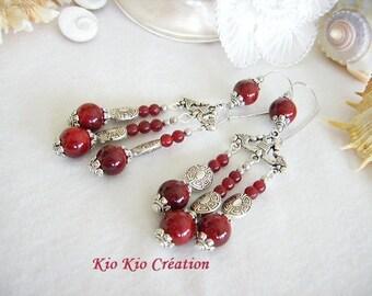 Earrings, ethnic, red glass Pearl Burgundy, Pearl, Tibetan silver, triangle chandelier sleeper, whimsical jewelry, women's fashion
