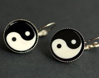Yin Yang Earrings. Black and White Yang Yin Earrings. Zen Earrings. Ying Yang Earrings. Taoist Earrings. Silver Earrings. Handmade Earrings.