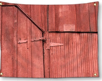 Farmhouse Wall Decor-Rustic Tapestry-Brick Red-Barn Door Wall Decor-Canvas Tapestry-Country Wall Decor-Rustic Wall Hanging-Outdoor Tapestry