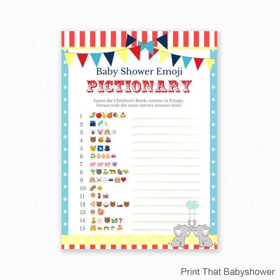 Elegant Baby Shower Game   Circus Baby Shower   Emoji Pictionary   Circus Elephant  Baby Shower Printable   Baby Shower Emoji Game   Circus