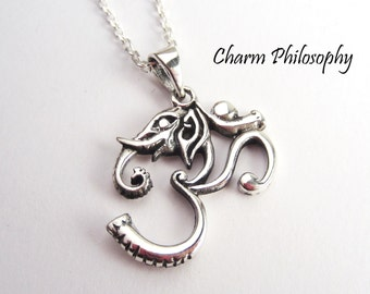 Elephant Om Necklace - 925 Sterling Silver Jewelry - Om Pendant - Tribal Elephant