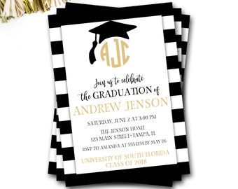 Graduation Invitation, Monogram Graduation Invitation, Black and Gold Graduation Invitation, Graduation Announcement, DIY Printable